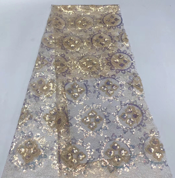 african sequins lace fabric 2020 high quality lace luxury lace fabric embroidered fabric nigerian lace for wedding dress KR20215