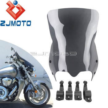 motorcycle wind screen deflector for suzuki boulevard m109 m109r m90 m50 m109r2 m109rz limited 2006 2016 pc windshield w clamps Black Tint Front Windshield Screen For Suzuki 2006-2014 Boulevard M109R Boss M109R2 M109RZ Limited M50 M90 Motorcycle Windscreen