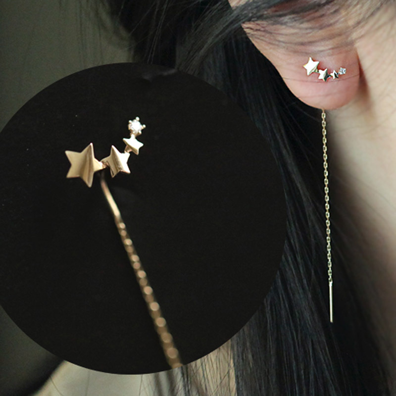 Fashion 925 Sterling Silver Elegant Long Chain Star Drop Earring For Women Girls Christmas Birthday Gift Jewelry Eh1437