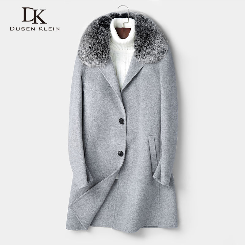 Wool Men Long Blend Coat Fox fur collar Winter Warm Business Casual Slim Jacket z8803L