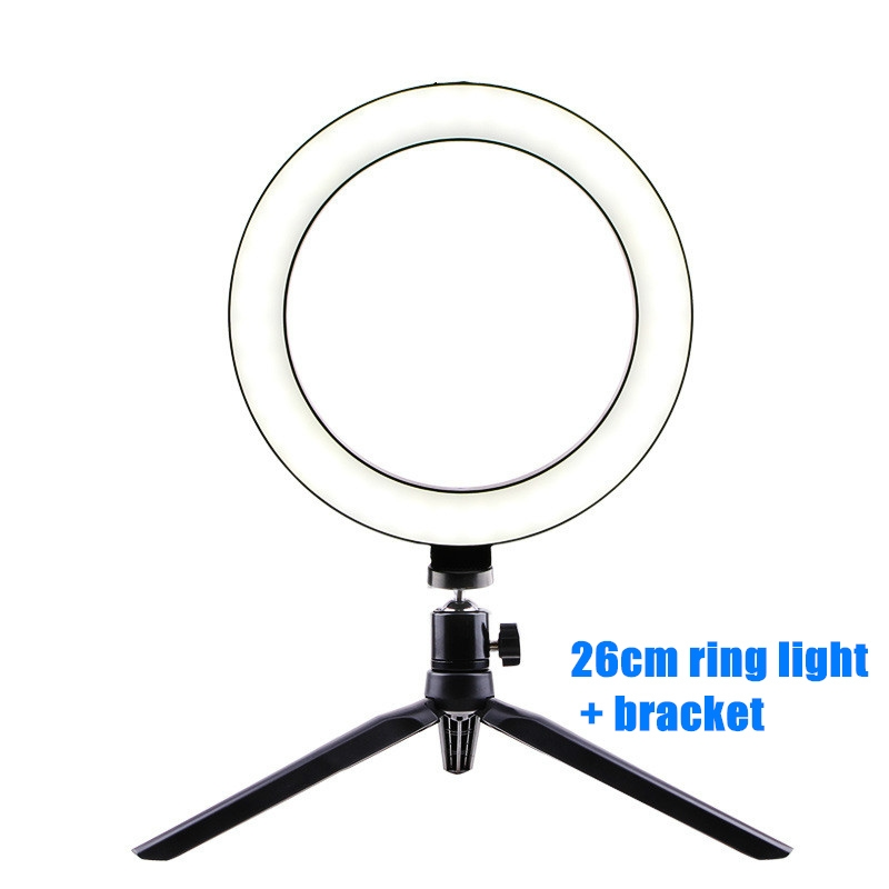 Photography LED Selfie Ring Light 26CM Dimmable Camera Phone Ring Lamp 10inch With Table Tripods For Makeup Video Live Studio 5