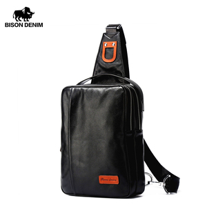 Image 1 - BISON DENIM Chest Bag Genuine Leather Crossbody Bags Men Multifunctional Zipper Shoulder Bag Casual Men Chest Waist Pack N2425