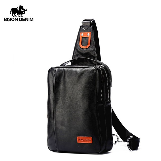 BISON DENIM Chest Bag Genuine Leather Crossbody Bags Men Multifunctional Zipper Shoulder Bag Casual Men Chest Waist Pack N2425