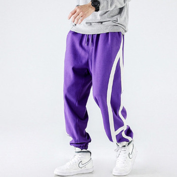 Homens roxo preto moda lado listra casual joggers sweatpants streetwear hip hop harem calças masculinas soltas calças de pista