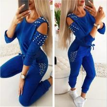 цена на Women Casual 2 Piece Outfits Patchwork Hollow Out Design Beading Decor O-Neck Long Sleeve Solid Top+Drawstring Slim Pencil Pants