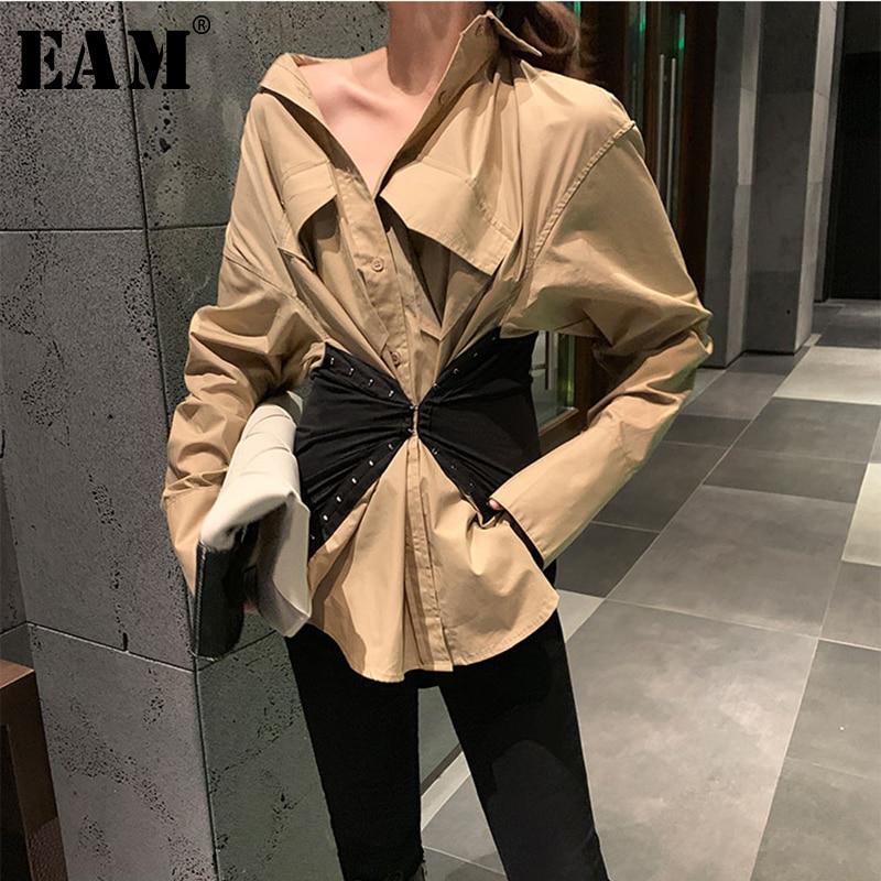 [EAM] Women Khaki Split Joint Big Size Blouse New V-collar Long Sleeve Loose Fit Shirt Fashion Tide Spring Autumn 2020 1R379