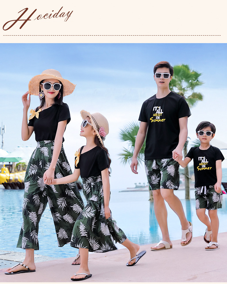 H3267f7c974c444278a0a5074d54d3598o - Matching Family Outfits Summer Mum Daughter Dad Son Cotton T-shirt +Pants Holiday Seaside Beach Couples Matching Clothing