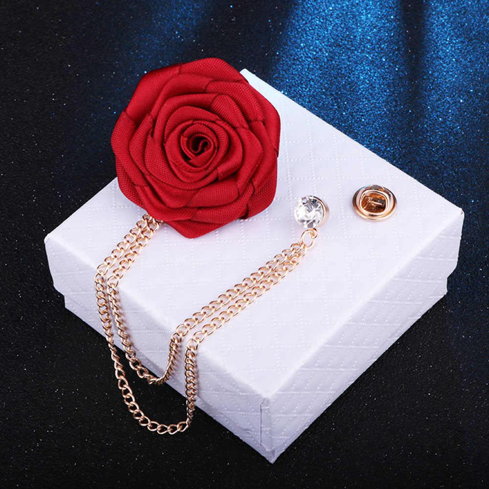 Coreano casamento do noivo broches pano arte feito à mão flor rosa broche lapela pino borla corrente acessórios terno masculino