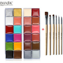 IMAGIC Face Body Paint Oil Painting Art Make Up Set Tools Party Halloween Fancy Dress 12 Flash Tattoo Color+6pcs Paint Brush все цены
