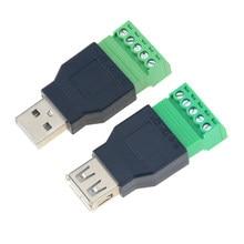 1 pièces USB femelle à vis connecteur USB prise femelle prise USB mâle à 5Pin borne à vis pour prise de câblage de clavier
