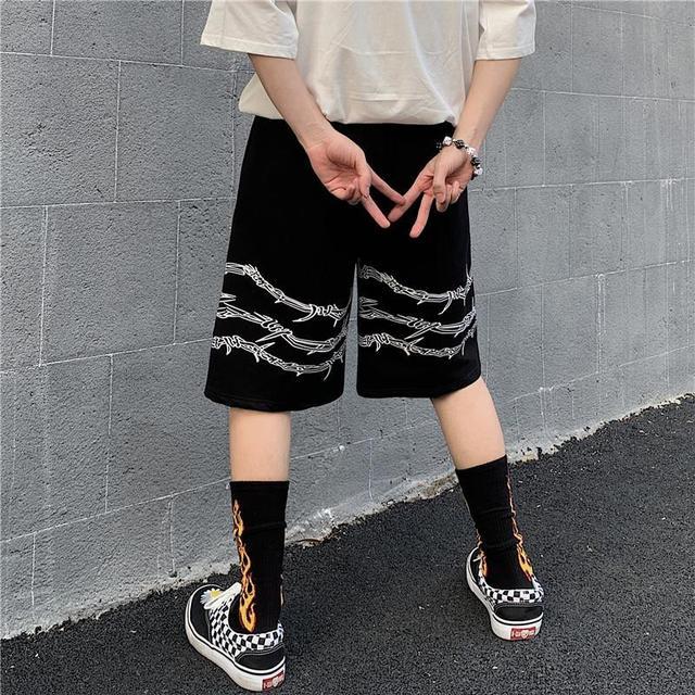 Harajuku men shorts streetwear iron chain pattern jogger shorts women men Summer loose elastic waist Hip hop skateboard shorts 2