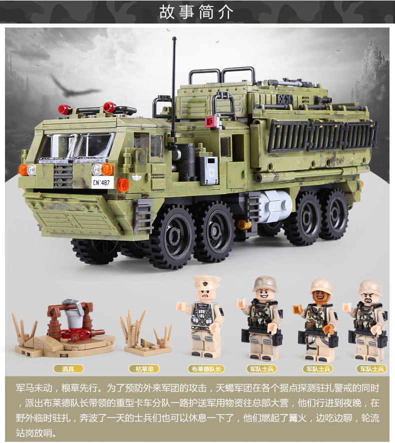1377Pcs XINGBAO Building Blocks Toys легоe military 06014 Cross The Battlefield Series Bricks Truck Model Gift for Children 4PX 21