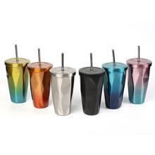 500ml/17oz 이중 벽 304 스테인레스 스틸 커피 병 빨 대와 함께 차가운 맥주 컵 텀블러 절연 자동 물 머그잔