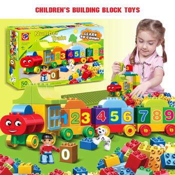 50pcs Large Particles Numbers Train Building Blocks Bricks Educational BabyCity Toys Compatible With Duplo DIY 50pcs large particles numbers train building blocks bricks educational babycity toys compatible with duplo diy