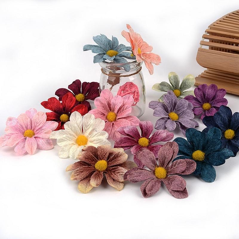 Искусственные цветы маргаритки, 6 см, 10 шт., цветочные хризантемы, украшение «сделай сам» для свадебной вечеринки, венок, подарок невесте, Сва...