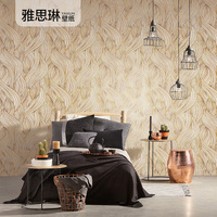 Good quality 3D gold plated leaves European style wallpaper luxury upscale restaurant porch living room bedroom TV back wall