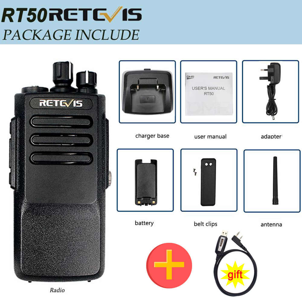 5 Pack Retevis RT50 2-Way Radios Long Range Distance High Power Walkie Talkies Digital Waterproof IP67 Dual Time Slot Group Call 198 CH UHF DMR Radio