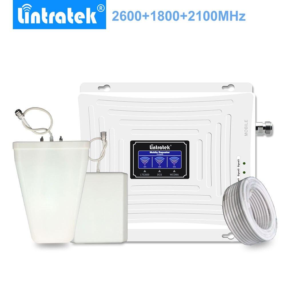 Lintratek Cellular Amplificateur Gsm 2g 3g 4g Lte 1800mhz Umts 2100mhz 2600mhz Tri Band Mobile Phone Booster Antenna Ampli Set -