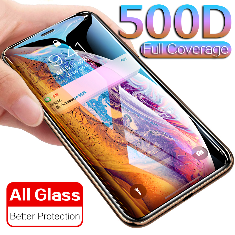 500D Protective Glass On IPhone X XS MAX XR Screen Protector Full Cover PET Edge Film Tempered Glass For IPhone 11 Pro Max Glass