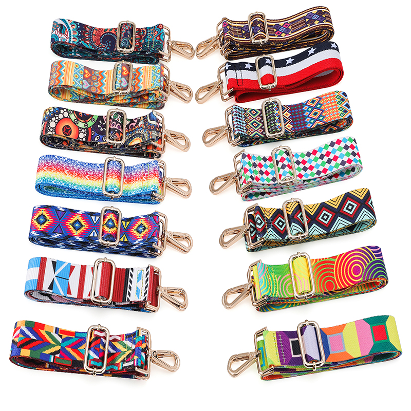 Colorful Bag Strap Belt Flower Replacement Wide Straps For Crossbody Bag Accessories Nylon Shoulder Strap For Bags Bohemia Pas