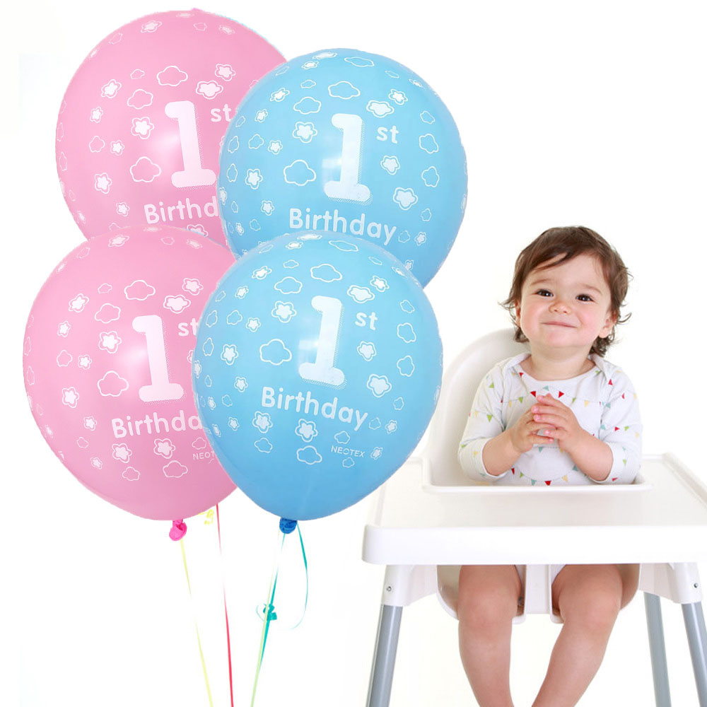 10pcs Blue Pink 1st <font><b>Birthday</b></font> Balloon One 1 <font><b>Year</b></font> Old First Happy <font><b>Birthday</b></font> Party <font><b>Decor</b></font> Latex Ballon Baby Shower Girl Favor image