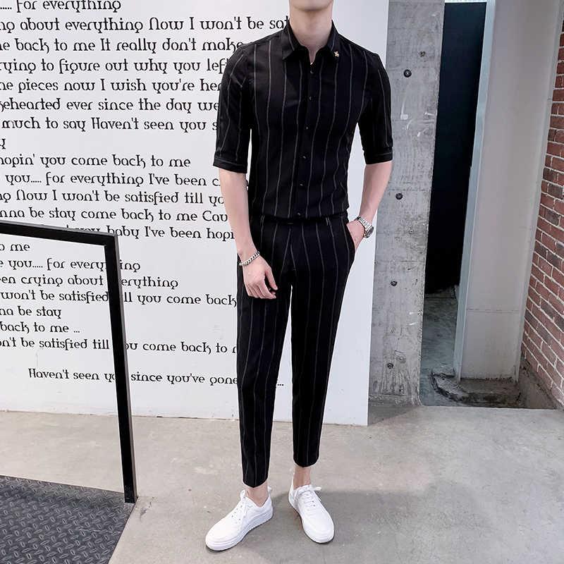 Listrado camisa de manga curta terno dos homens negócios smoking ajuste fino 2020 tendência bonito calça cortada 2 peça conjunto traje terno de negócios