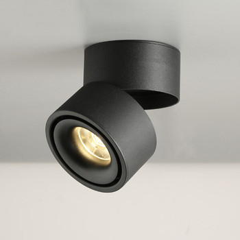 Dimmable COB LED Downlights Surface Mounted LED Ceiling Lamps 7W/10W/15W Foldable And 360° Rotatable Background Spot lights