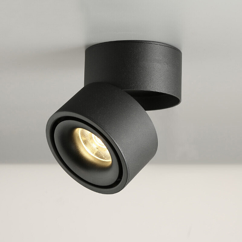 Dimmable COB LED Downlights Surface Mounted LED Ceiling Lamps 7W 10W 15W Foldable And 360     Rotatable Background  Spot lights