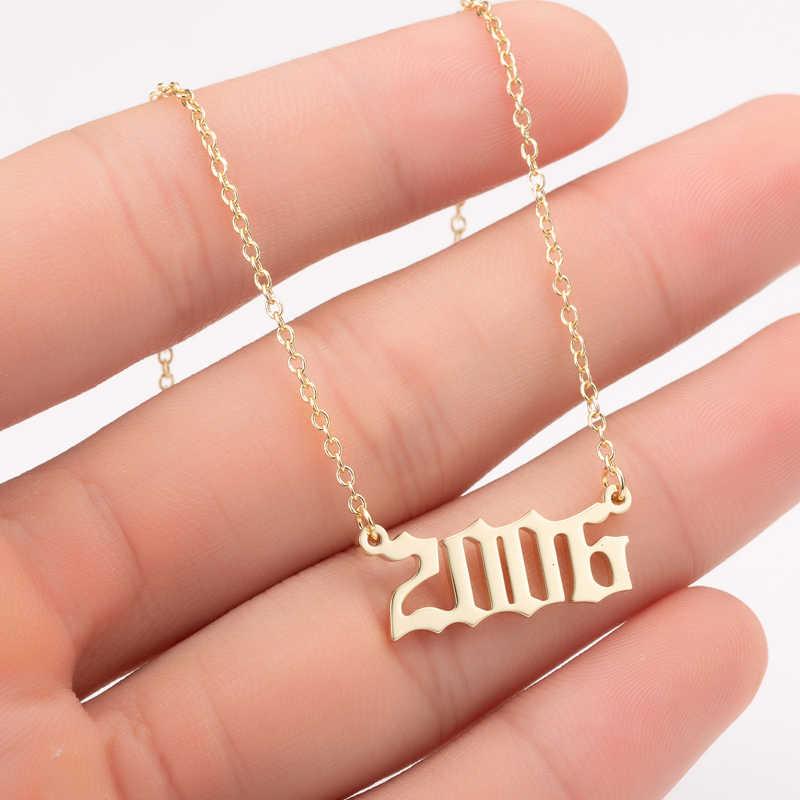 Yiustar Ano Número Pingente de Colar Gargantilha de Ouro De Aço Inoxidável para Homens Feitos Sob Encomenda do Ano 1997 2005 2008 Presente de Aniversário de 1997 a 2008