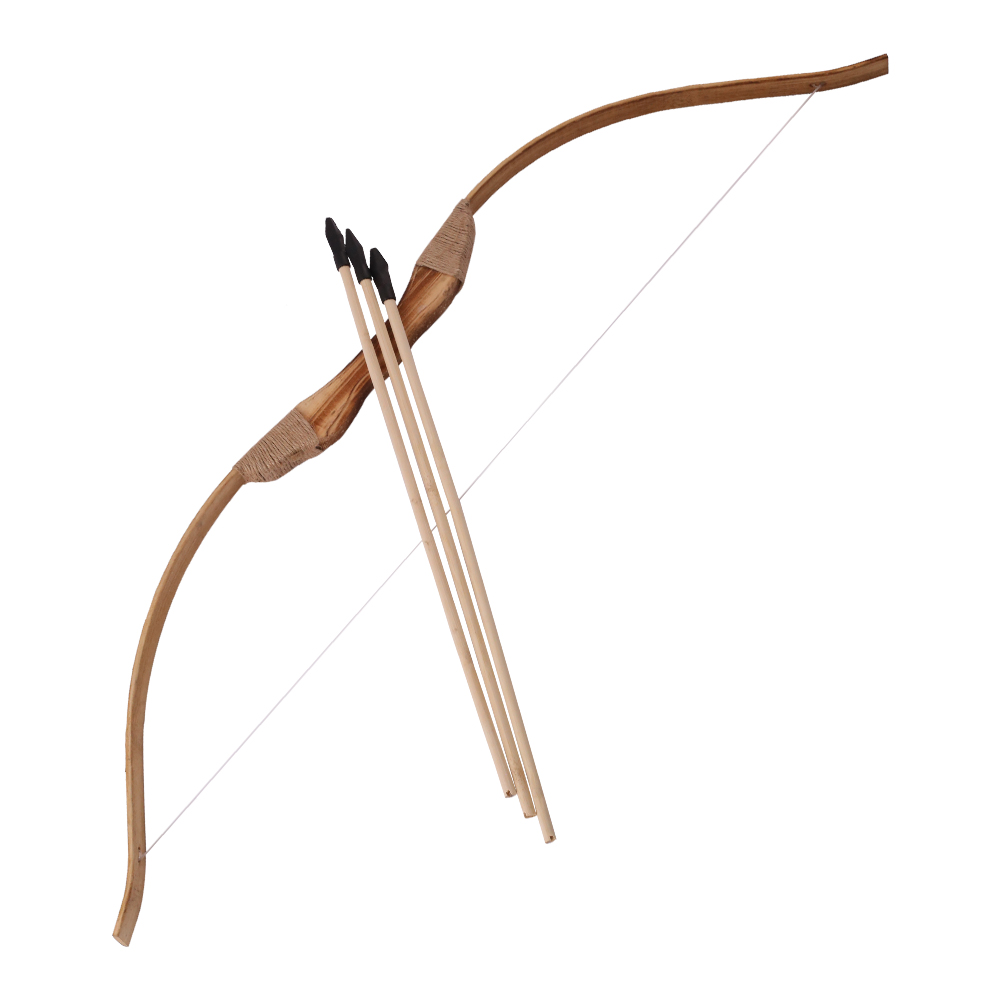 Good-quality  Powerful Wooden Wood Bow With 3 Arrows And Quiver Kids Toy Wood Archery Bow DIY Set Kids Gift 4