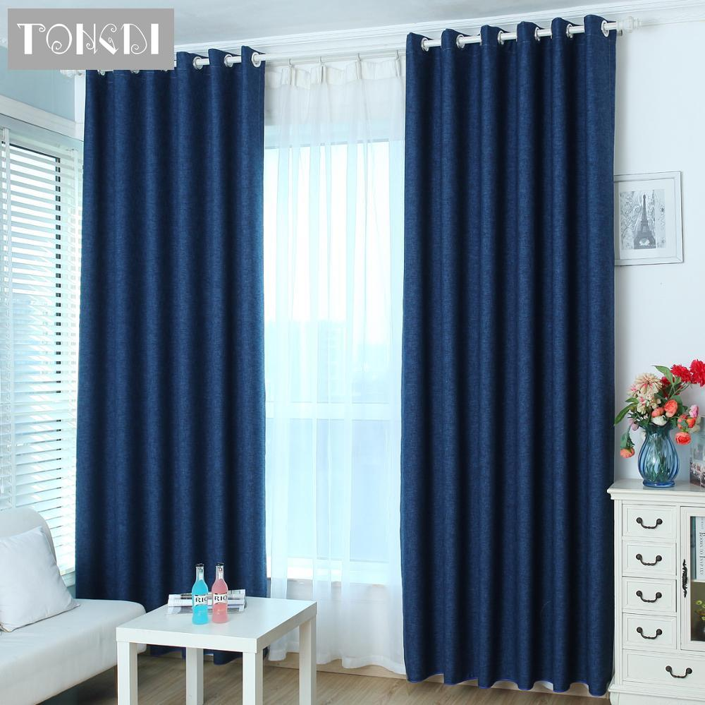 TONGDI Modern Blackout Curtains Lustrous Linen For Home Hotel Bedroom Living Room Window Blind Fabric Solid Panel Noise Reducing