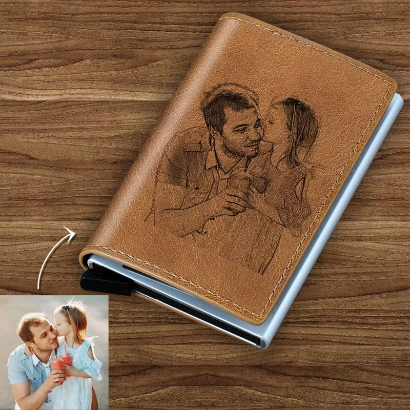 Carving Wallets Exclusive Custom Laser Engraving Wallet Photo Engraved Card Case Leather Wallet Best Gift