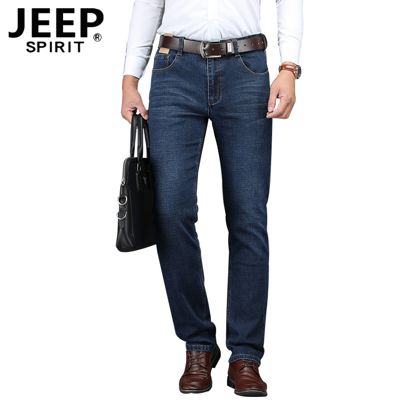 JEEP SPIRIT Brand New Denim Pant Men Casual Cotton Mid-waist Straight Elastic Jeans Men Plus Size 30-44 Mens Jeans Pant