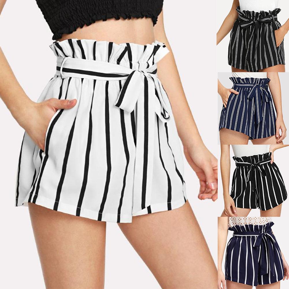 Summer Beach Women Striped Belted Ruffled Elastic High Waist Shorts Hot Pants