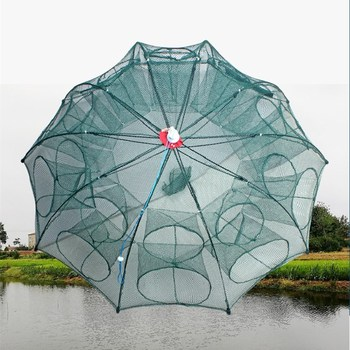 The New 4-8 Holes Automatic Fishing Net Strengthened Shrimp Cage Nylon Foldable Fish Trap Cast Net Cast Folding Fishing Network