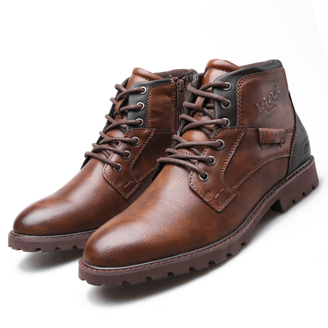 2020 Classic Brand Men Boots Italy Handmade Men Ankle Boots Outdoor Waterproof Male Work Shoes Autumn Lace-UP Man Moccasins