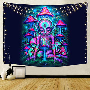 Home Decorative Hippie Hanging Wall Tapestry Colorful Bohemian Psychedelic Blanket for Bedroom Living Room Headboard 95x73cm
