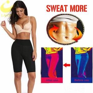Image 3 - لازوغ النيوبرين ساونا السراويل مع جيب للنساء فقدان الوزن عرق السراويل تجريب محدد شكل الجسم طماق حجم كبير 4XL إلى 6XL