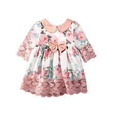 Citgeett Summer 1-5Years Kid Baby Girls Party Dress Flowers Print Lace Long Sleeve Peter Pan Collar A-Line Dress(China)