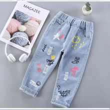 Baby Jeans Solid Color Jeans For Girls Spring Autumn Jeans Baby Girl Casual Style cartoonToddler Girl Clothes Loose Pant 2 -6