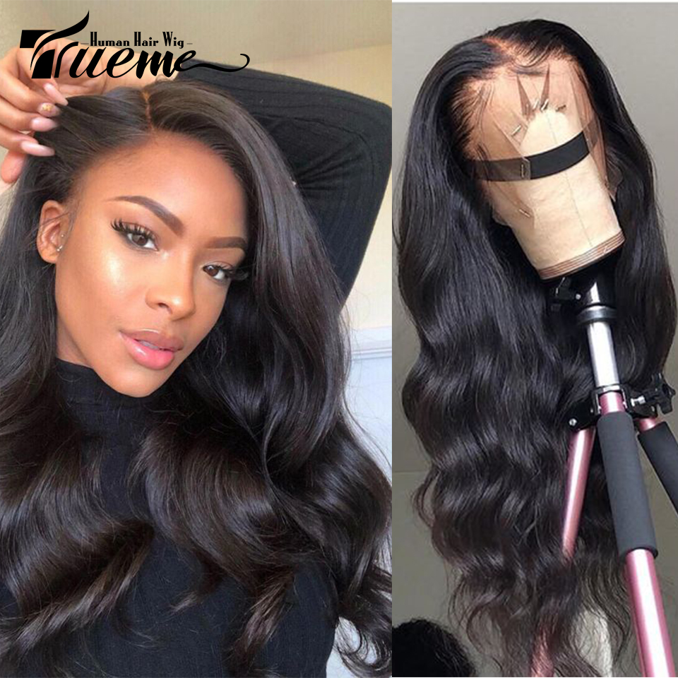 Trueme 360 Lace Frontal Wig Pre Plucked With Baby Hair 30 Inch Brazilian Remy Straight Lace Frontal Human Hair Wigs For Women