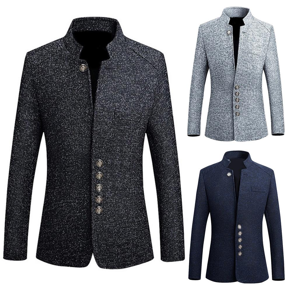 2019 marca para hombre Vintage Blazer abrigos estilo chino de negocios chaquetas Casual de cuello alto chaqueta de traje de hombre