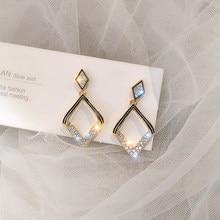 Modernos aretes geométricos modernos de Metal con cristales pavimentados, accesorio de pendientes Vintage minimalistas para mujer CS190