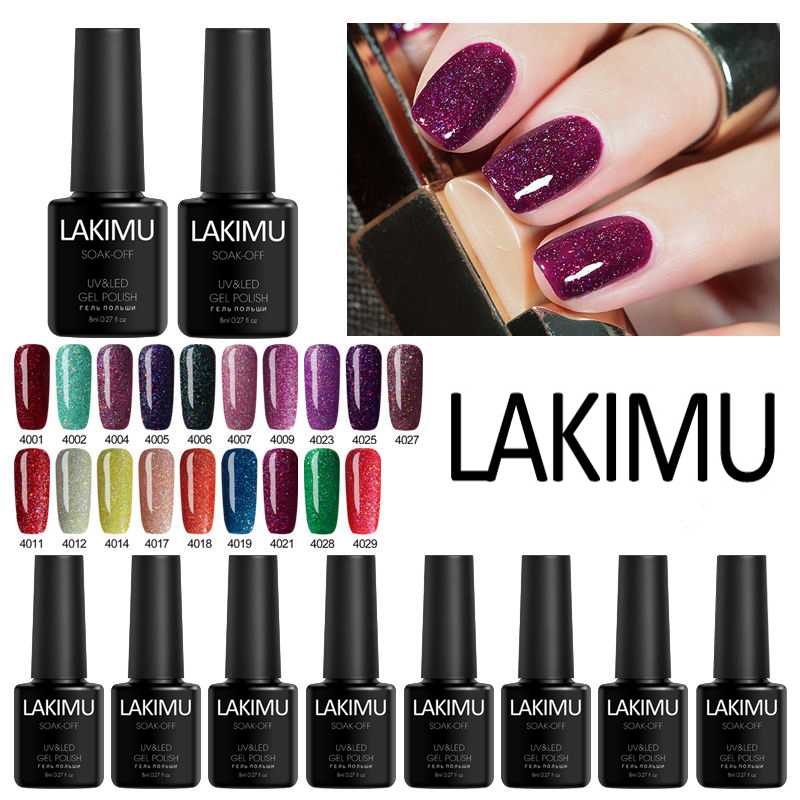 LAKIMU Gel Nail Polish Rainbow Neon Hybrid Nail Polish Platinum Glitter Manicure Set Decoration Need Base Finish Coat UV LED Gel
