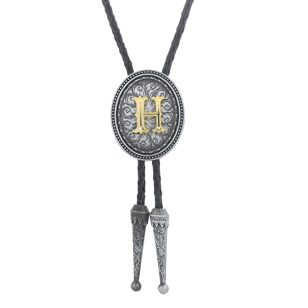 New Man Bolo Tie Zinc Alloy Leather Collar Rope Wedding High-end Gift Retro Pattern Surname Initials