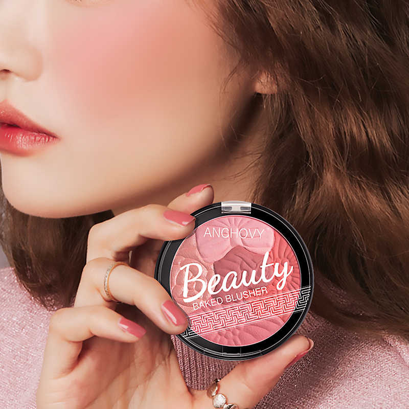 5 Kleur Gezicht Blusher Poeder Bloemblaadje Blush Carving Blush Highlighter Gloss Blush Rouge Contour Shadow Cosmestic Blusher TSLM1
