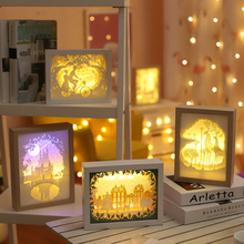 Creative paper lamp bedside bedroom LED night light new strange 3d shadow carving home gift decor