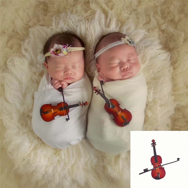 Baby Shoot Accessories Mini Music Instruments Microphone Violin Guitar Creative Ornaments Infant Photography Props