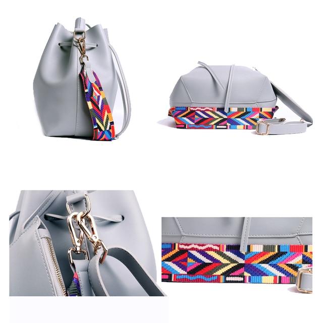 DAUNAVIA Women bag with Colorful Strap Bucket Bag Women PU Leather Shoulder Bags Brand Designer Ladies Crossbody messenger Bags 4