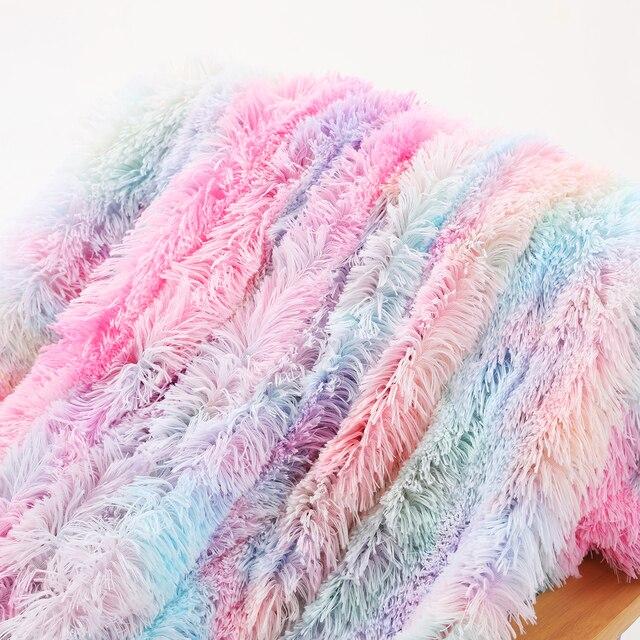 Tie Dye Blankets Bedding Winter Fur Throw Blanket Fleece Flannel Fur Throw Blanket Sleep Thick Blankets Beds Home Textile D30 5